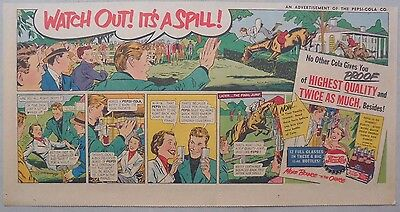 Pepsi-Cola Ad: Horse Steeplechase! from 1940's  7.5 x 15 inches