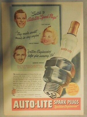 Auto-Lite Spark Plugs Ad: 1940's from Newspaper Magazine 11 x 15 inches