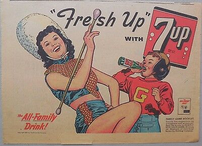 7-Up Ad: Fresh Up With Seven-Up! All Family Drink ! from 1950's  8.5 x 11 inches