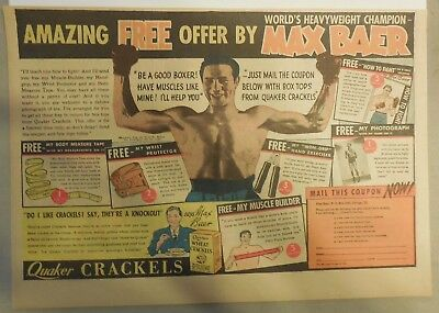 """Quaker Cereal Ad: """"Boxing Champ Max Baer Gifts"""" from 1934 Size: 11 x 15 inches"""