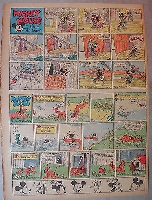 Mickey Mouse Sunday Page by Walt Disney from 10/16/1938 Tabloid Page Size