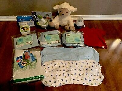Baby Boy Lot Open Boxes Swaddles Nursing Food Masher Cup Sheets Pacifiers