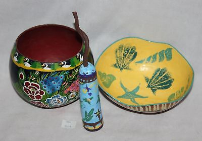 ThriftCHI ~ Hand Painted South American Souvenir Gourd Bowls and Rattle