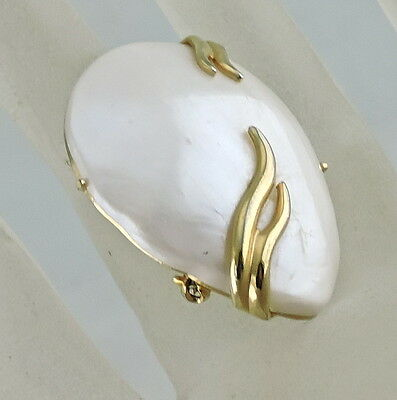 Vintage Brooch/pin Signed Emmons Art Deco Gold Plated Faux Mother Pearl Shell