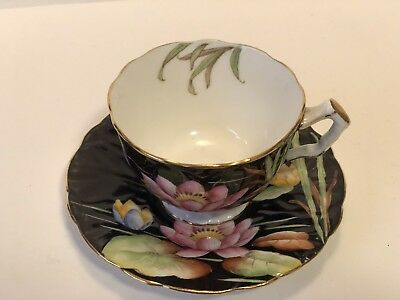 Hand Painted Black Aynsley Water Lily Tea Cup