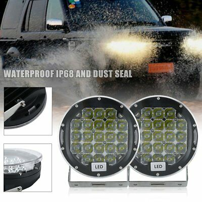 Pair 7inch CREE SPOT LED Driving Lights Round Off Road 4x4 Spotlights Black