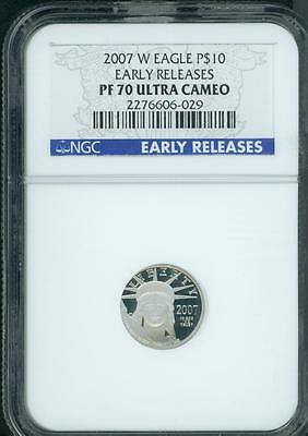 2007-W $10 PLATINUM EAGLE 1/10 Oz STATUE LIBERTY NGC PF70 PR70 Early Releases ER