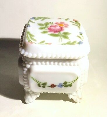 Vintage Westmoreland Glass Company Hand Painted Milk Glass Ring or Trinket Box