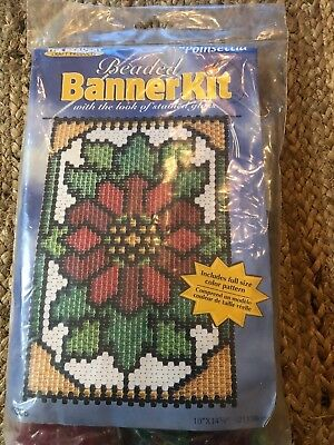 Poinsettia Beaded Banner Kit NEW #5306 The Beadery Craft Products