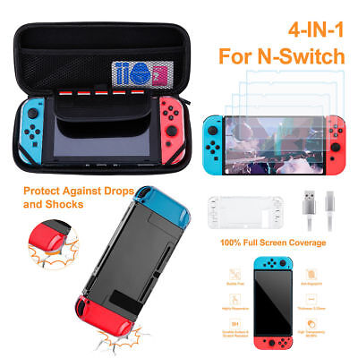 For Nintendo Switch 4in1 Case Bag Screen Protector USB Cable Hard Case Kit Set