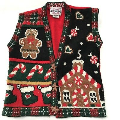 Vintage Ugly Christmas Sweater Kids Small 7 8 Vest Gingerbread Heartworks USA