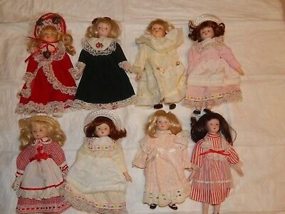 Lot Of Eight - 8 Inch Porcelain And Cloth Dolls With Painted Features - Preowned