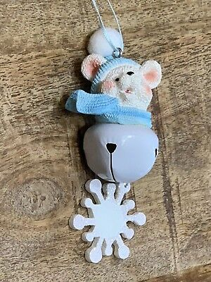 Baby Boy's First 1st Christmas Ornament White Bear Bell Blue Ribbon