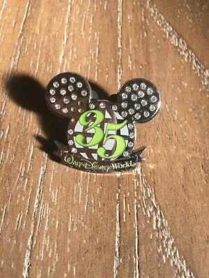 35th Anniversary Walt Disney World Silver Mickey Mouse Globe Ears Icon Pin b13