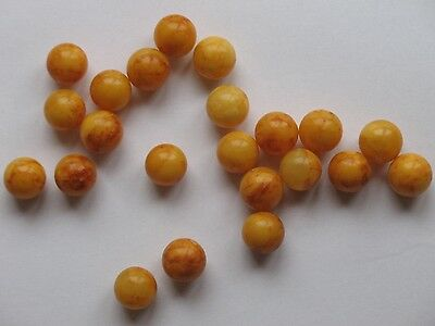 RARE ANTIQUE 40gr GENUINE BUTTERSCOTCH EGG YOLK AMBER BEADS NECKLACE 22 Ball