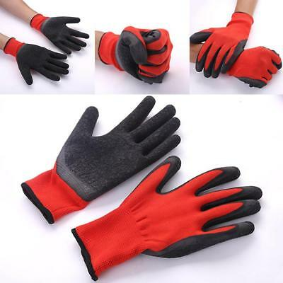 1 Pairs Latex Coated Nylon Work Gloves Safety Garden Grip Builders Red