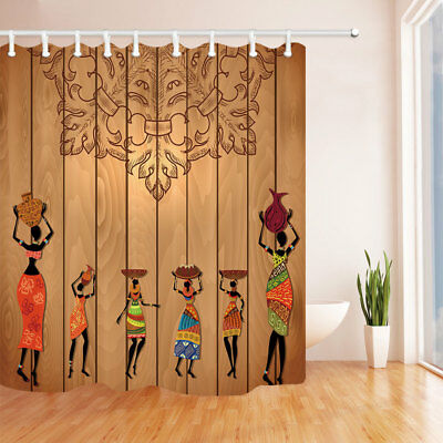 African Woman Totems on Wooden Bathroom Fabric Shower Curtain and Hooks 71inch
