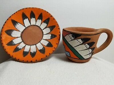 """Tesuque Pueblo Southwest Native American Indian Red Clay 4.25"""" Pottery Cup Plate"""