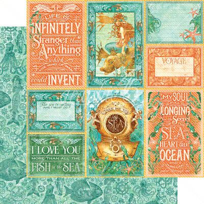 """G45 - Voyage Beneath the Sea D/Sided Cardstock 12""""X12"""" - Wild, Wild Waves"""