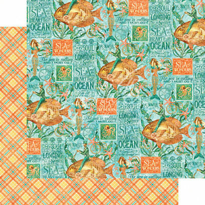 """G45 - Voyage Beneath the Sea D/Sided Cardstock 12""""X12"""" - Neptune's Adventure"""