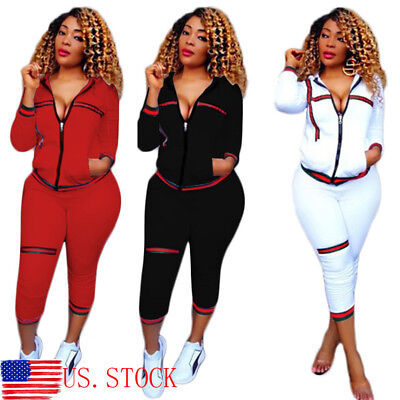 Women Black 2PCS Tracksuit Yoga Running Casaul Jogger Sports Suits Gym Sweats US