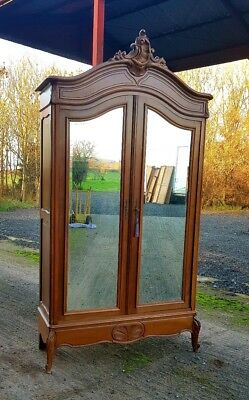 Magnificent Antique French Carved Wood Armoire, With Two Mirrored Doors