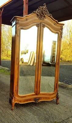 Fabulous Antique French Carved Wood Armoire, With Two Mirrored Doors