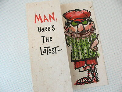 Hippy Beard Man Late Birthday Art Vintage 60s Hallmark Greeting Card VTG Unused