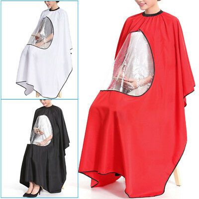 Salon Barber Hair Cutting Gown Cape With Viewing Window Hairdresser Apron