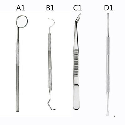 Stainless Steel Dental Tool Set Kit Dentist Teeth Clean Hygiene Mirror Ora EWX