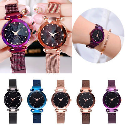 Luxury Women Starry Sky Diamond Wrist Watches Steel Strap magnet Buckle Gift UK