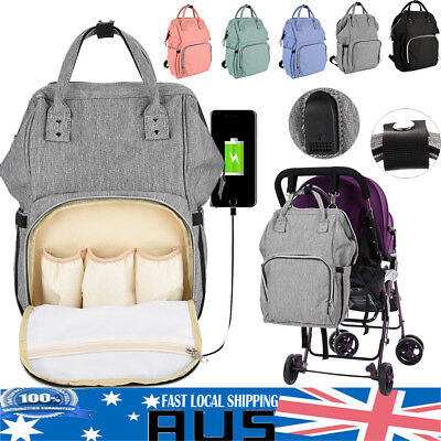 Large Nappy Backpack Baby Diaper Changing Bag with USB Charging Port AU Post