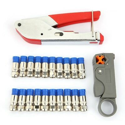 Coaxial Network Wire Stripper + Crimping Pliers Set+20Pcs F Head RG6