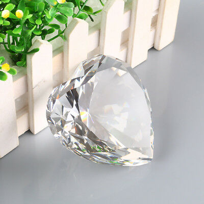 3D 90mm Crystal Clear Heart Paperweight Figurine Diamond Shaped Wedding Gifts