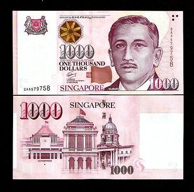SINGAPORE 1000 1,000 DOLLAR P51 1999-2018 UNC 1 or 2 Star,House or Triangle NOTE