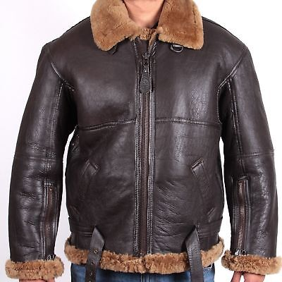Mens RAF B3 Bomber Brown Ginger Shearling Real Leather Flying Jacket
