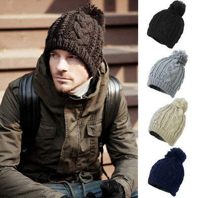 Mens Womens Kids Cable Knitted Bobble Hat Plain Beanie Warm Winter Pom Wooly Cap