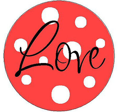 """RED w/LOVE WITH POLKA DOTS - 1"""" Round Labels Stickers"""