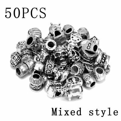 50Pcs Bulk Loose Silver Murano Glass Lampwork Beads Fit Jewellery Charm Bracelet