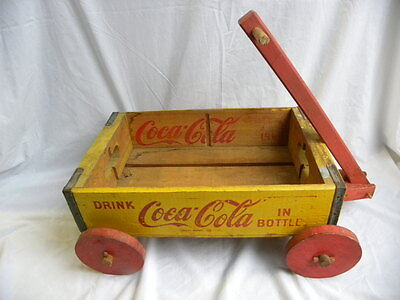 1960's Wooden Yellow Drink Coca-Cola in Bottles Crate Wagon w/Red Wheels, Handle