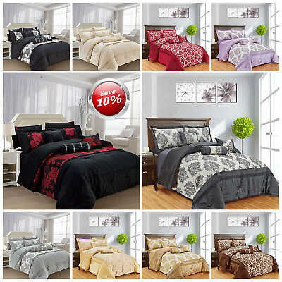 Jacquard 7 Piece Comforter Set Quilted Bedspread Double & King Size Bedroom Sets