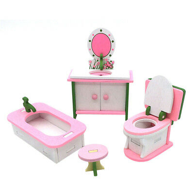 1 set Baby Wooden Dollhouse Furniture Dolls House Miniature Child Play Toys Q9T5