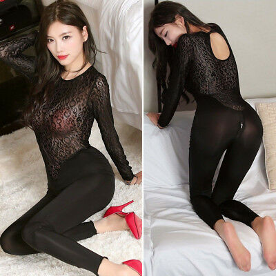 Damen Body Overall Zipper Schritt Offen Nylon Bodysuit Lace Catsuit Bodystocking
