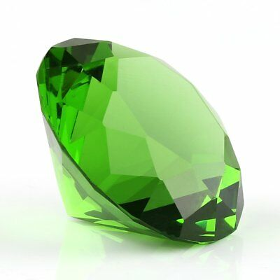 40mm Green Crystal Diamond Shaped Paperweight Wedding Decor Jewelry Gifts