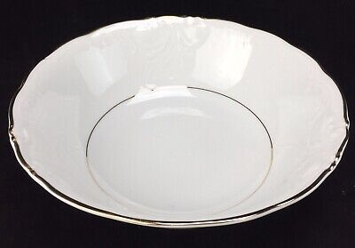 Royal Kent Vegetable Serving Bowl Porcelain Bone China White Gold Trim Poland