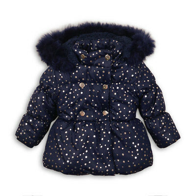 Baby Toddler Girls Foil Print Navy Puffa Coat Jacket faux fur trim