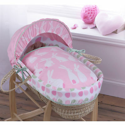 New Clair De Lune Rabbits Pink Palm Baby Girls Moses Basket & Mattress