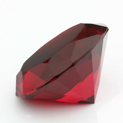 60mm Crystal Red Paperweight Cut Glass Large Giant Diamond Jewelry Display Gift