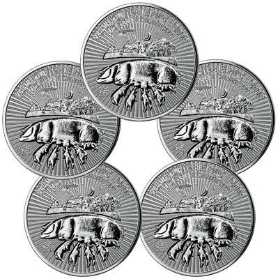 Lot of 5 2019 Great Britain Year Pig 1 oz Silver Lunar £2 Coins GEM BU SKU55398