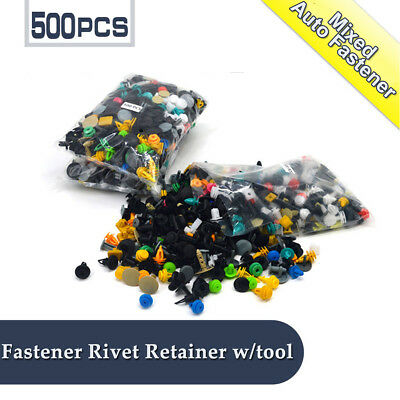 500PCS Car Body Trim Clips Retainer Bumper Rivets Screws Panel Push Fastener Kit